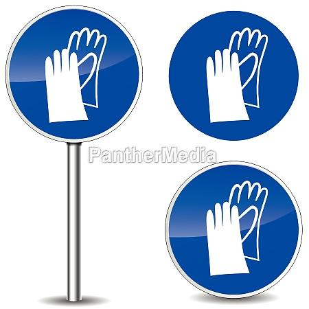 vector safety gloves sign