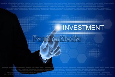 business hand clicking investment button on