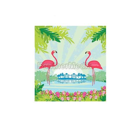 abbildung mit gruenen palmen und rosa
