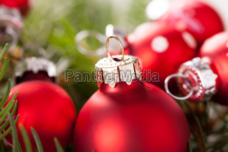 beautiful red christmas balls with small