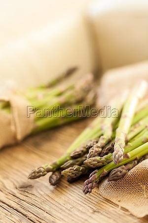 fresh healthy green asparagus as close