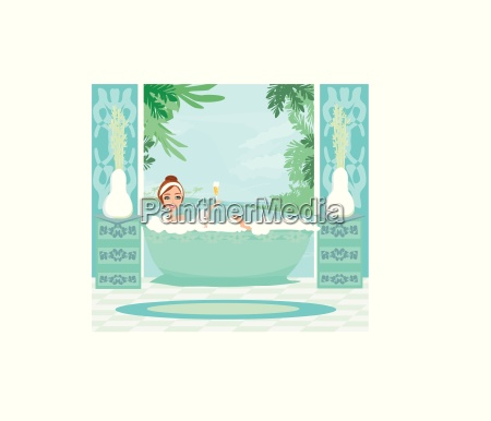 girl relaxes in the bath in