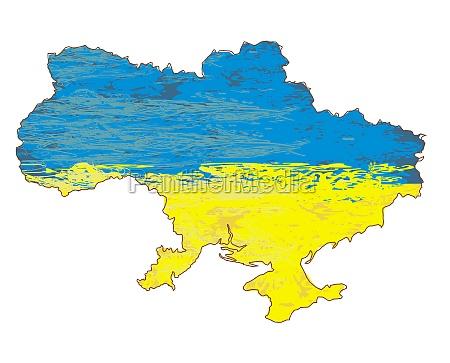 ukraine grunge karte mit der flagge