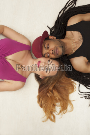 cute young mixed couple on the
