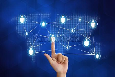 hand pushing organization networking