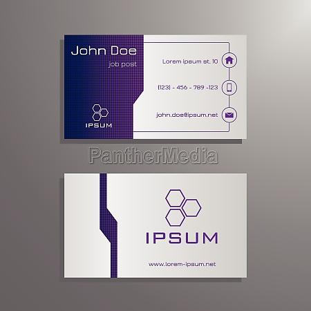 business card template purple blue