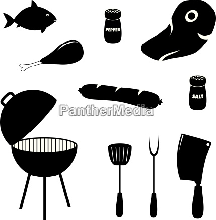 set grill verbundene symbole lebensmittel grill
