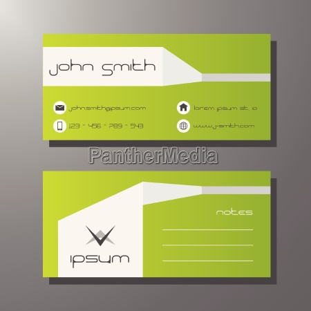 bright green business or visit card