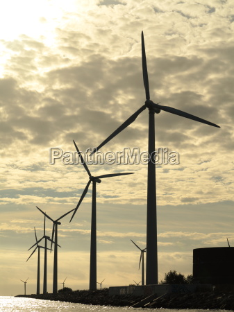wind turbines power generator farm in