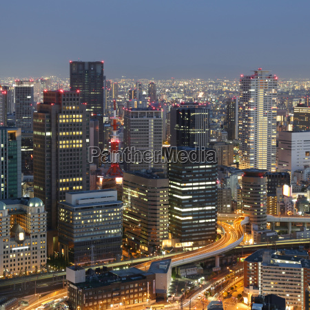 osaka japan skyline and traffic