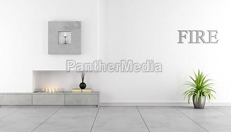 minimalistisches interieur mit kamin