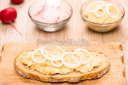 slice of bread with obatzda