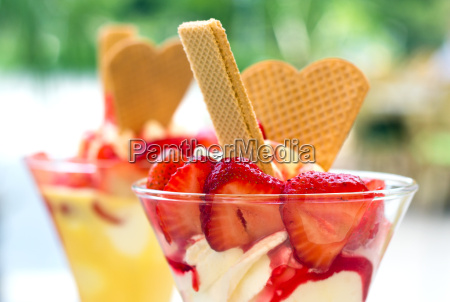 ice cream strawberries waffles ice cream