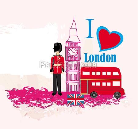 grunge rahmen mit symbolen von london