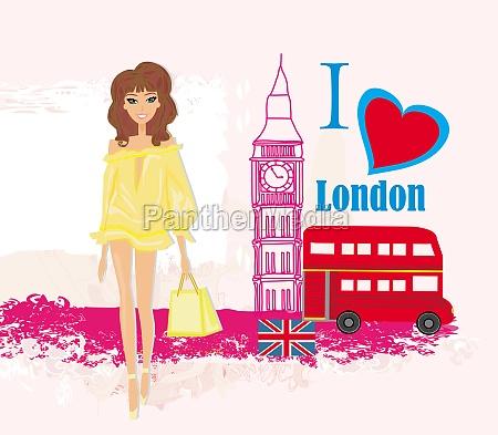 schoene frau in london abstrakte karte
