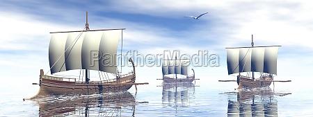 antike griechische boote 3d render