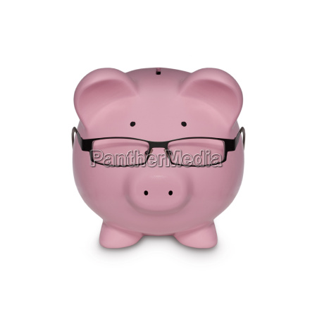 piggy bank with glasses isolated on