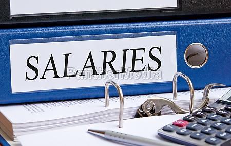 salaries blue binder in the