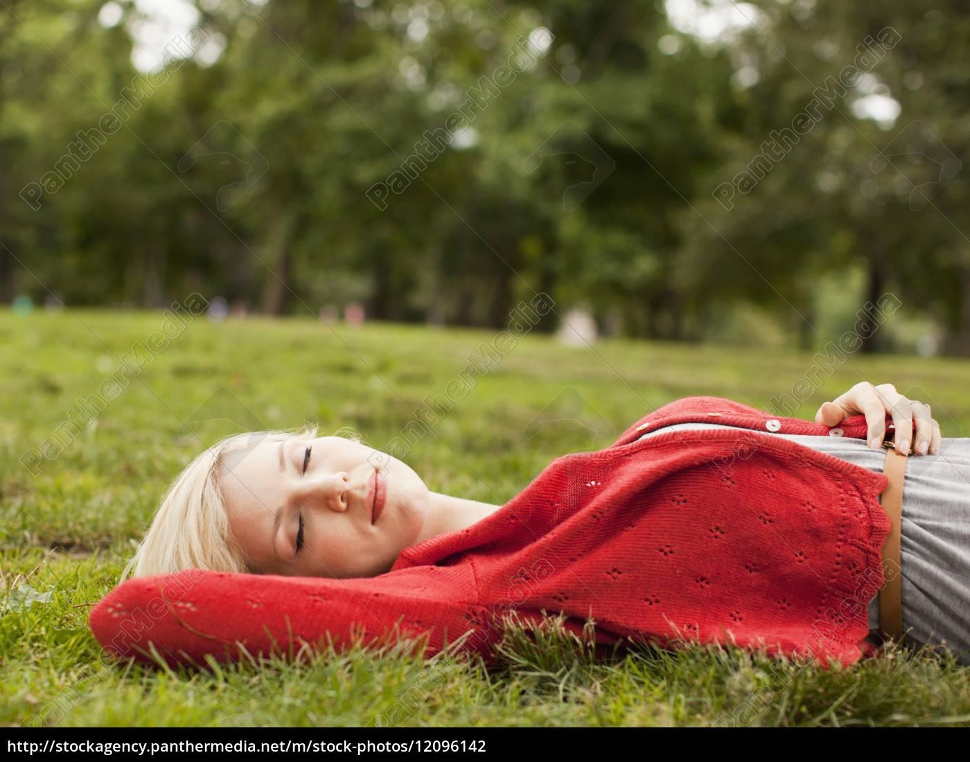 baum, park, liegen, liegend, liegt, horizontal - 12096142