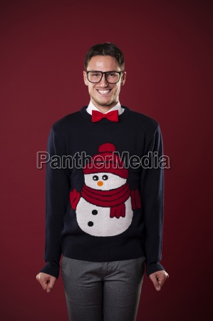 portrait of funny man wearing sweater
