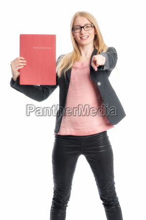 woman with application portfolio