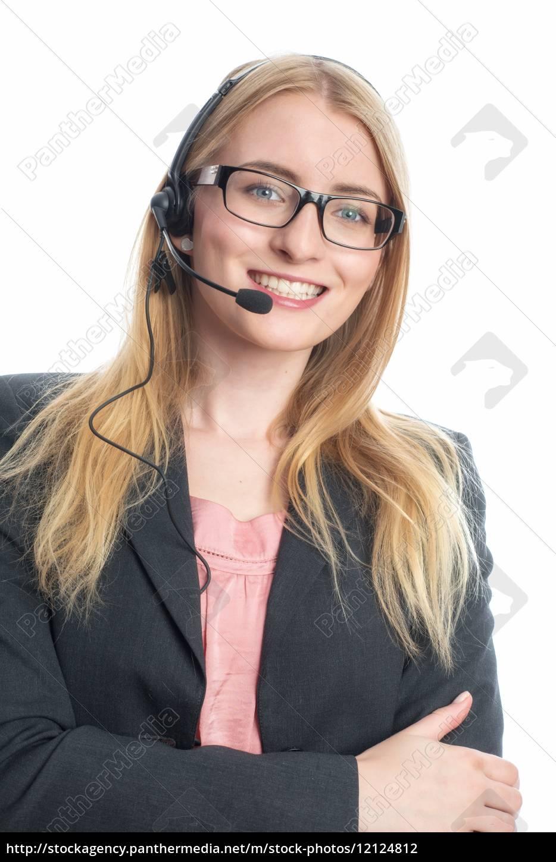 frau, mit, headset - 12124812