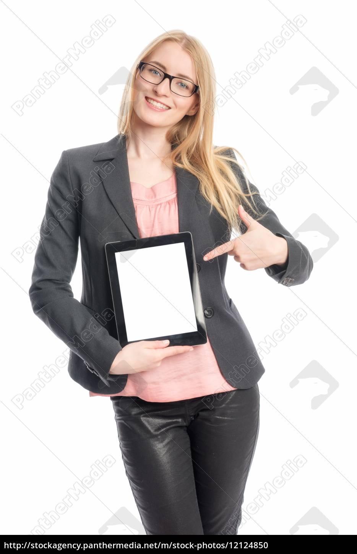 frau, mit, tablet, pc, - 12124850