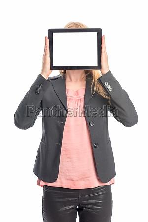 frau, mit, tablet, pc, - 12124854