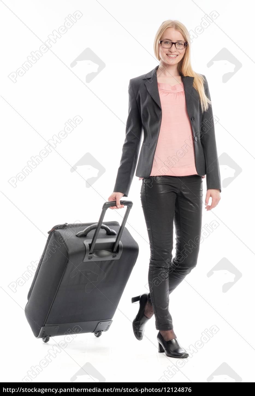geschäftsfrau, mit, reisekoffer - 12124876