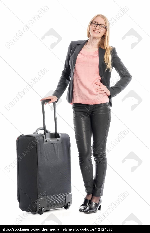 geschäftsfrau, mit, reisekoffer - 12124878