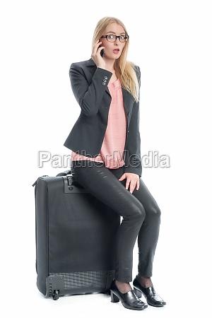 geschäftsfrau, mit, reisekoffer - 12124880