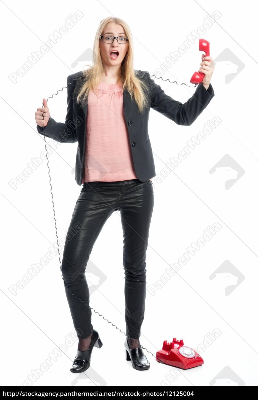 geschäftsfrau, am, telefonhörer - 12125004