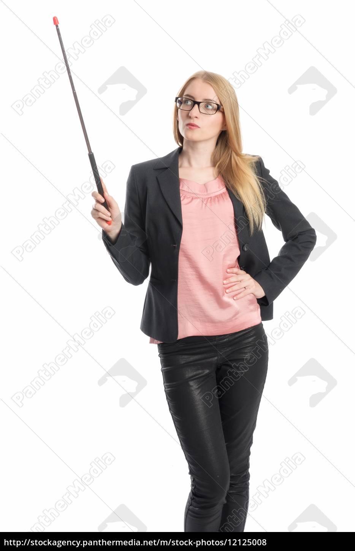 geschäftsfrau, mit, zeigestock, - 12125008