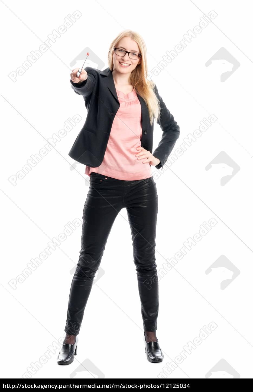 geschäftsfrau, mit, zeigestock, - 12125034