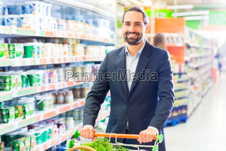 man with shopping cart in the