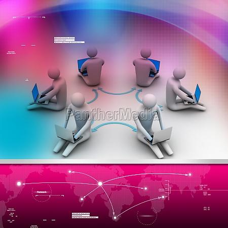 3d illustration of people working online