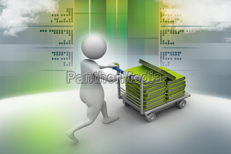 3d man carrying the file in