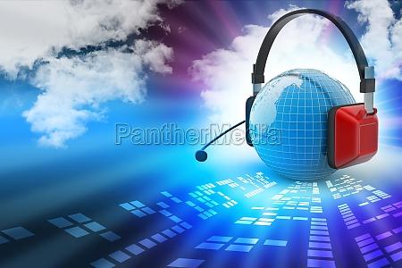 headset mit weltkugel konzept fuer die