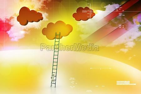 ein, wettbewerb, konzept, wolken, mit, leitern - 12140280