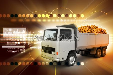 truck with dollar money