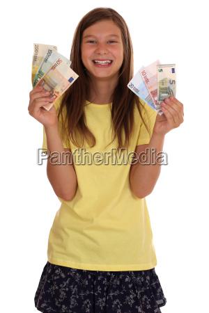 junges maedchen mit geld