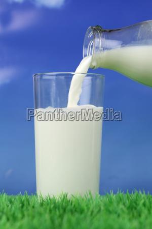 milch eingiessen in ein glas