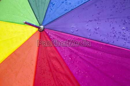 colorful umbrella with rain drops
