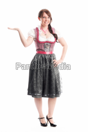 bavarian girl pointing a finger