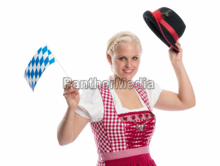 blonde maid with flag