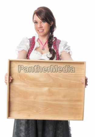 bavarian girl holding tray