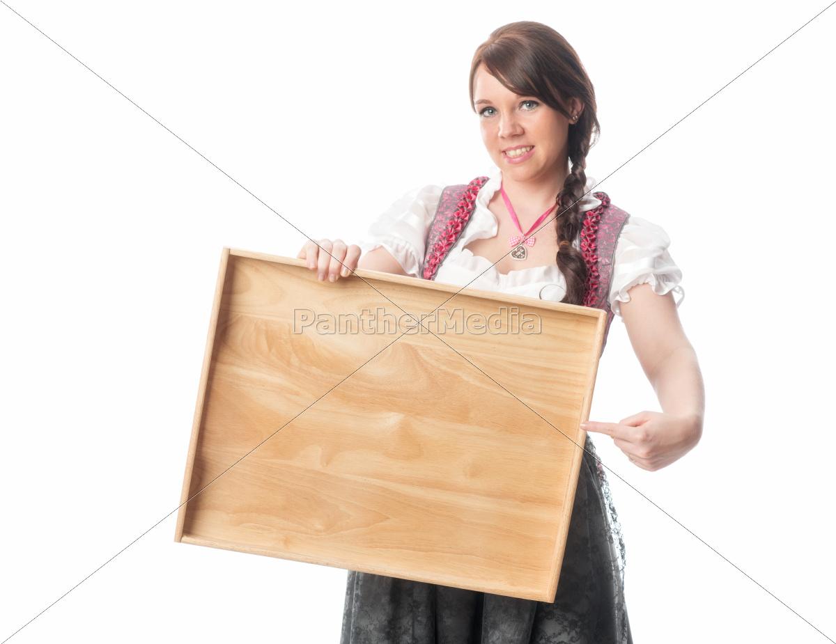 bayrisches, mädchen, hält, tablett - 12210466
