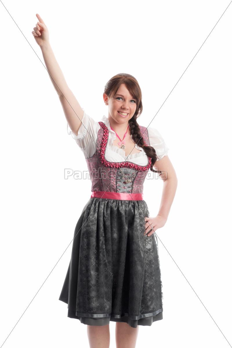 bayrisches, mädchen, zeigt, mit, dem, finger - 12210392