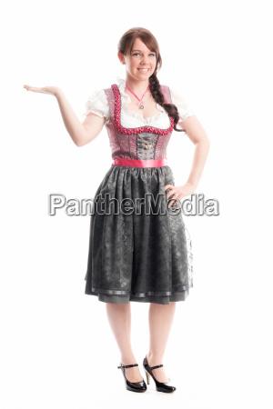 bayrisches, mädchen, zeigt, mit, dem, finger - 12210396