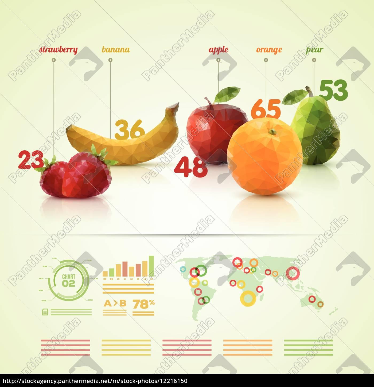 polygon obst infografik-vorlage - Stockfoto - #12216150 ...